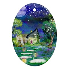 Background Fairy Tale Watercolor Ornament (oval)