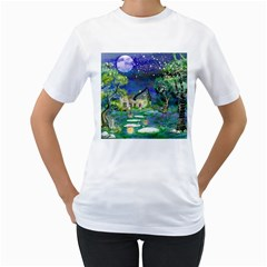 Background Fairy Tale Watercolor Women s T Shirt (white) (two Sided)