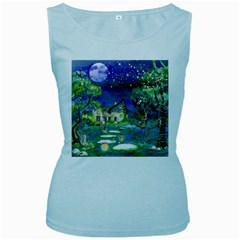 Background Fairy Tale Watercolor Women s Baby Blue Tank Top