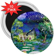 Background Fairy Tale Watercolor 3  Magnets (10 Pack)