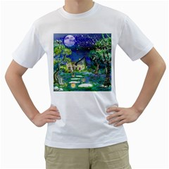 Background Fairy Tale Watercolor Men s T Shirt (white) (two Sided)