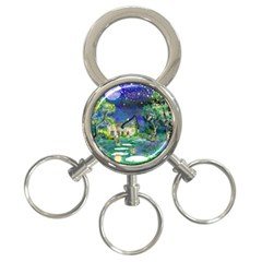 Background Fairy Tale Watercolor 3 Ring Key Chains