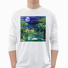 Background Fairy Tale Watercolor White Long Sleeve T Shirts