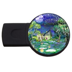 Background Fairy Tale Watercolor Usb Flash Drive Round (4 Gb)