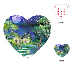 Background Fairy Tale Watercolor Playing Cards (heart)  by Nexatart