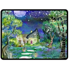 Background Fairy Tale Watercolor Fleece Blanket (large)