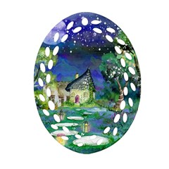 Background Fairy Tale Watercolor Oval Filigree Ornament (two Sides)