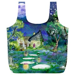 Background Fairy Tale Watercolor Full Print Recycle Bags (l)