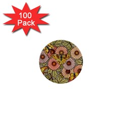 Flower Butterfly Cubism Mosaic 1  Mini Buttons (100 Pack)