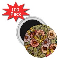 Flower Butterfly Cubism Mosaic 1 75  Magnets (100 Pack)