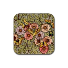 Flower Butterfly Cubism Mosaic Rubber Square Coaster (4 Pack)