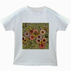 Flower Butterfly Cubism Mosaic Kids White T Shirts
