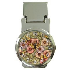 Flower Butterfly Cubism Mosaic Money Clip Watches