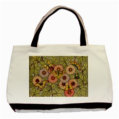 Flower Butterfly Cubism Mosaic Basic Tote Bag by Nexatart