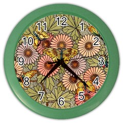 Flower Butterfly Cubism Mosaic Color Wall Clocks