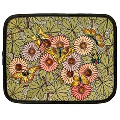 Flower Butterfly Cubism Mosaic Netbook Case (large) by Nexatart