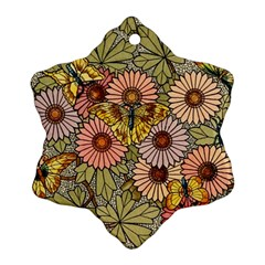 Flower Butterfly Cubism Mosaic Ornament (snowflake)