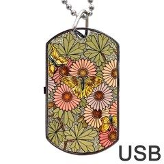 Flower Butterfly Cubism Mosaic Dog Tag Usb Flash (two Sides)