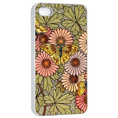 Flower Butterfly Cubism Mosaic Apple Iphone 4/4s Seamless Case (white) by Nexatart