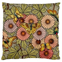 Flower Butterfly Cubism Mosaic Large Cushion Case (two Sides)
