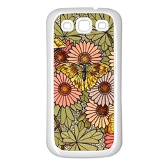 Flower Butterfly Cubism Mosaic Samsung Galaxy S3 Back Case (white)