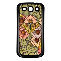 Flower Butterfly Cubism Mosaic Samsung Galaxy S3 Back Case (black)