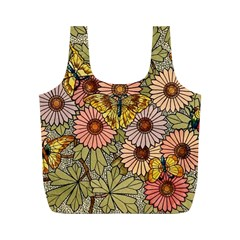 Flower Butterfly Cubism Mosaic Full Print Recycle Bags (m)