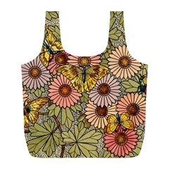 Flower Butterfly Cubism Mosaic Full Print Recycle Bags (l)  by Nexatart