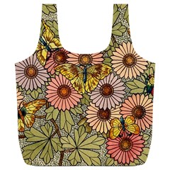 Flower Butterfly Cubism Mosaic Full Print Recycle Bags (l)