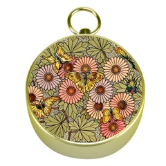 Flower Butterfly Cubism Mosaic Gold Compasses by Nexatart