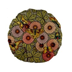 Flower Butterfly Cubism Mosaic Standard 15  Premium Flano Round Cushions