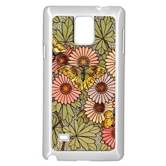 Flower Butterfly Cubism Mosaic Samsung Galaxy Note 4 Case (white)