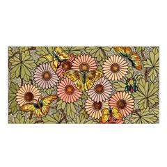 Flower Butterfly Cubism Mosaic Satin Shawl