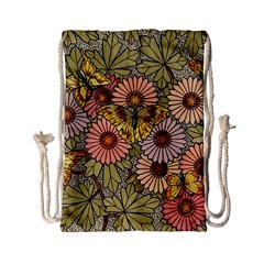 Flower Butterfly Cubism Mosaic Drawstring Bag (small)