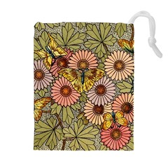Flower Butterfly Cubism Mosaic Drawstring Pouches (extra Large)