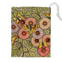 Flower Butterfly Cubism Mosaic Drawstring Pouches (xxl)