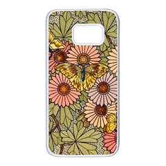 Flower Butterfly Cubism Mosaic Samsung Galaxy S7 White Seamless Case