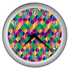 Background Geometric Triangle Wall Clocks (silver)
