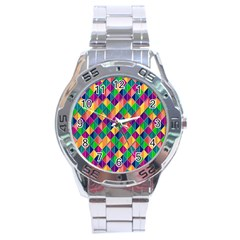 Background Geometric Triangle Stainless Steel Analogue Watch