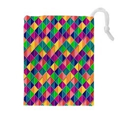 Background Geometric Triangle Drawstring Pouches (extra Large)