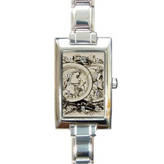 Young Old Man Weird Funny Rectangle Italian Charm Watch