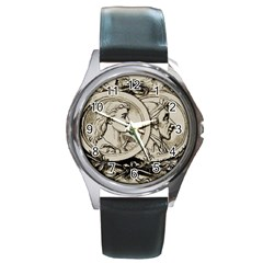 Young Old Man Weird Funny Round Metal Watch