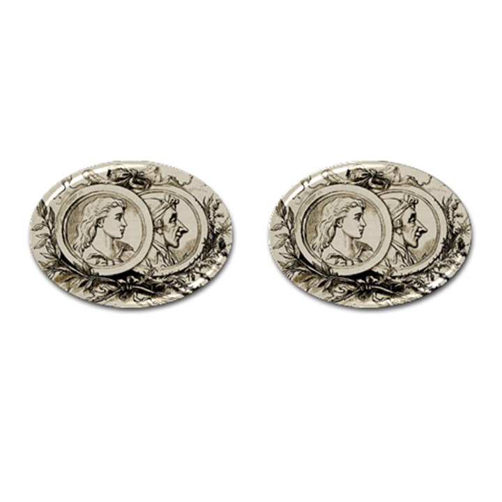Young Old Man Weird Funny Cufflinks (Oval)