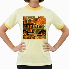 Car Automobile Transport Passenger Women s Fitted Ringer T Shirts