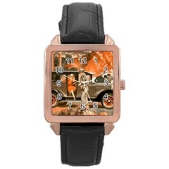 Car Automobile Transport Passenger Rose Gold Leather Watch