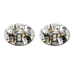 Vintage People Party Celebrate Cufflinks (oval)