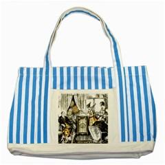 Vintage People Party Celebrate Striped Blue Tote Bag