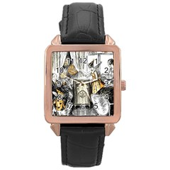 Vintage People Party Celebrate Rose Gold Leather Watch