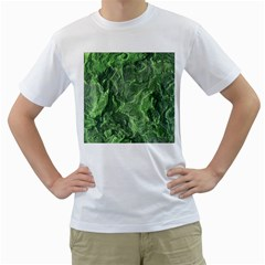 Green Geological Surface Background Men s T Shirt (white) (two Sided)