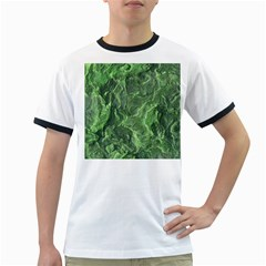 Green Geological Surface Background Ringer T Shirts